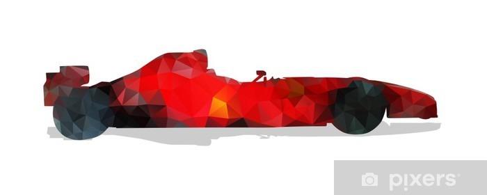 Sticker Pixerstick Formule voiture de course. Rouge géométrique abstrait illustration vectorielle. - Sports
