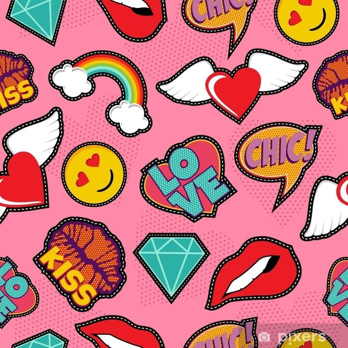 Naklejka Pixerstick Różowy wzór pop-art szwu ściegu - Zasoby graficzne