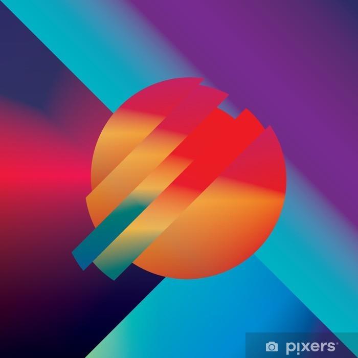 Pixerstick Sticker Materiaal ontwerp abstracte vector achtergrond met geometrische isometrische vormen. Levendig, helder, glanzend kleurrijk symbool voor behang. - Grafische Bronnen
