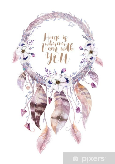 Fototapeta zmywalna Izolowane Akwarela dekoracji artystycznej Dreamcatcher. Boho feath - Rośliny i kwiaty