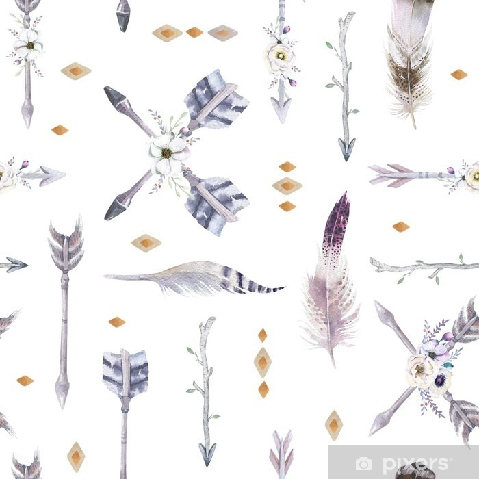 Watercolor boho seamless pattern with teepee, arrows and feather Pixerstick Sticker - Graphic Resources