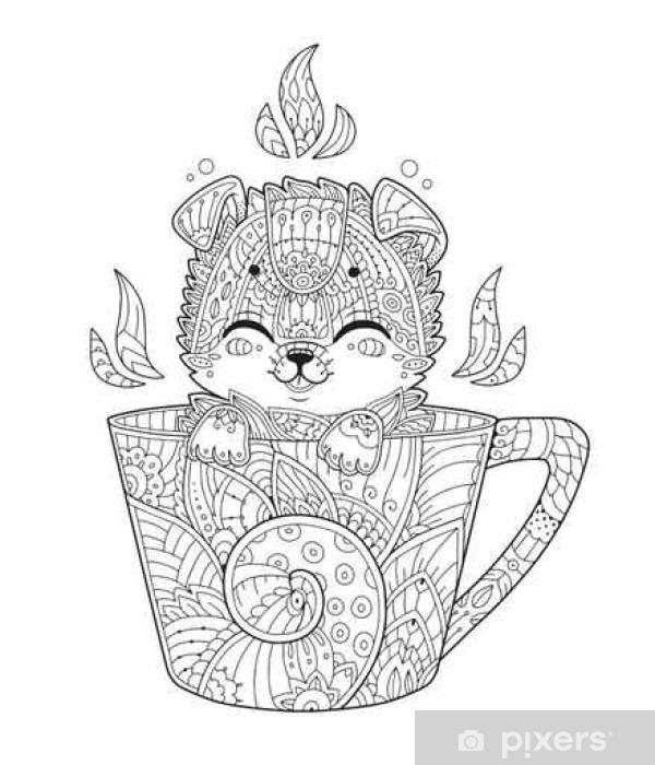 Fototapete Welpe In Der Tasse Erwachsene Anti Stress Färbung Seite Mit Hund In Zentangle Art Doodle Tier Vektor Illustration Für T Shirt Druck