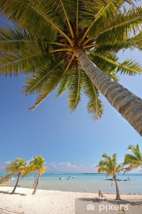 Nálepka Pixerstick Palma přes paradise bílé písčité pláže, Moorea Polynésie - Oceánie
