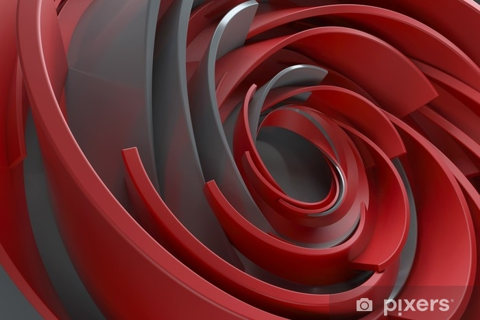 3D rendering abstract background. Twisted concentric shapes. Rotated elements with random sizes with reflective surface. Vinyl Wall Mural - Graphic Resources