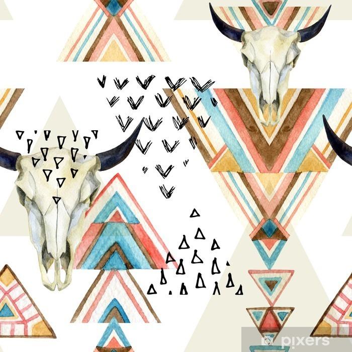 Pixerstick Sticker Het abstracte waterverf dierlijke schedel en geometrische ornament naadloos patroon. - iStaging