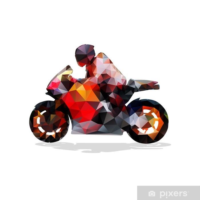 Moottoripyörä, abstrakti geometrinen vektori siluetti. moottoripyöräilyä Pixerstick tarra - Urheilu