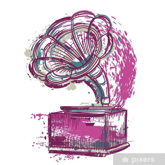 Sticker Pixerstick Gramophone Vintage. Hand drawn grunge style art. Retro illustration vectorielle. Bannière, carte, réservation de chute. t-shirt, sac, carte postale, affiche. - Passe-temps et loisirs