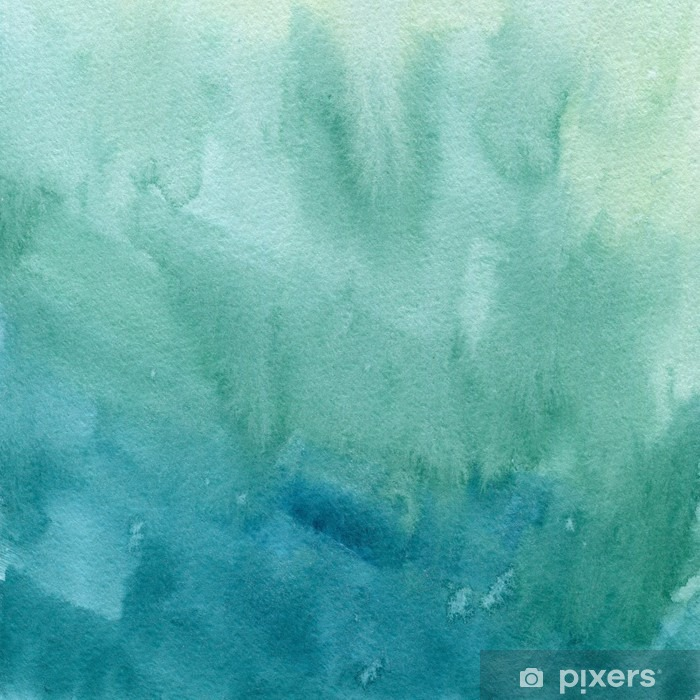 Hand Drawn Turquoise Blue, Green Watercolor Abstract Paint