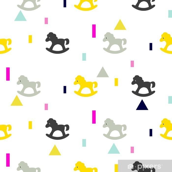 Carta da Parati in Vinile A dondolo cavallo grigio, modello kid rosa e giallo. Bambino cavallo giocattolo vettore seamless per la stampa in tessuto e capi di vestiario. - Per cameretta