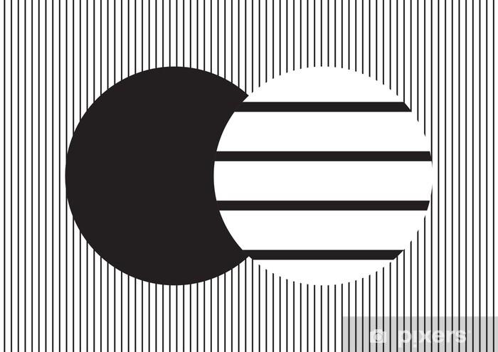 Koelkaststicker Cirkelontwerp in zwart-witte verticale strepen op horizontale strokenachtergrond; achtergrond en behang - Grafische Bronnen