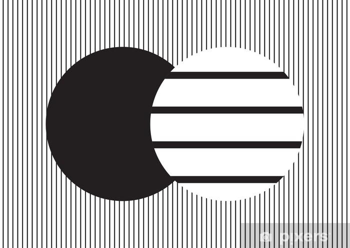Circle design in black and white vertical stripes on horizontal strips background; backdrop and wallpaper Pixerstick Sticker - Graphic Resources