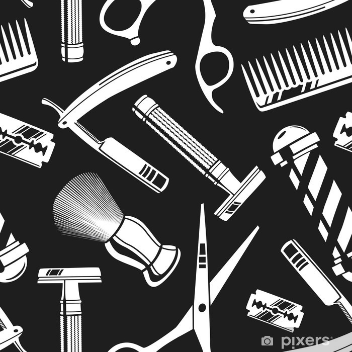 Seamless pattern background with vintage barber shop tools Vinyl Wall Mural - Graphic Resources