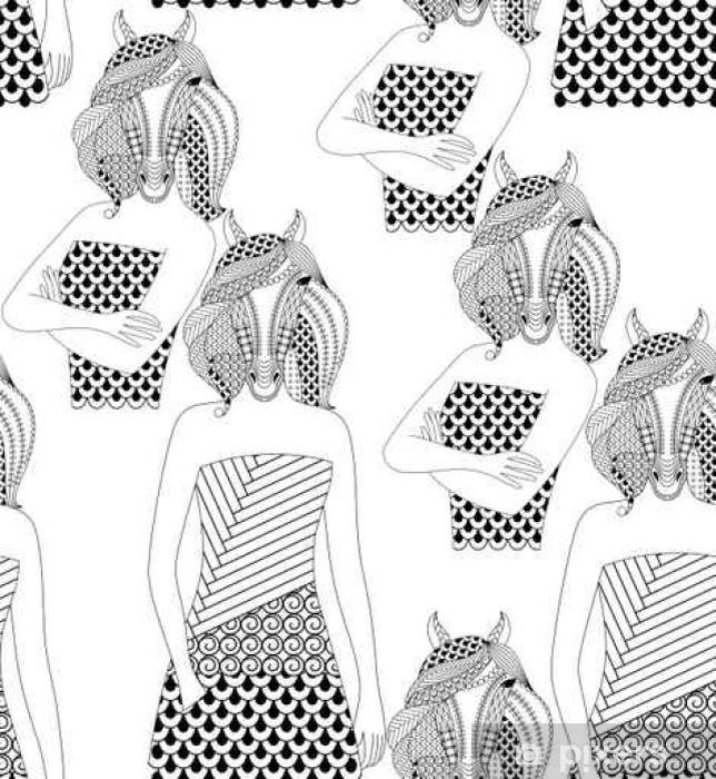 çıkartması Moda At Kadın Yetişkinler Için Boyama Kitabı Vector Illustration Seamless Pattern Pixerstick