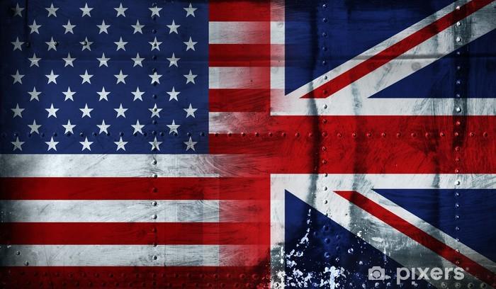 Papier peint vinyle Drapeau américain et britannique -