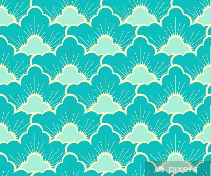stylized pine forest sky blue japanese style seamless Vinyl Wall Mural - Graphic Resources