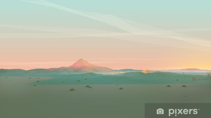 Fotomural Estándar Geométrica del paisaje de montaña con el cielo degradado - Paisajes