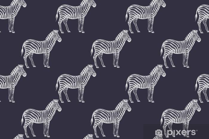 Pixerstick Sticker Naadloos patroon met Afrikaanse zebra's. - Dieren