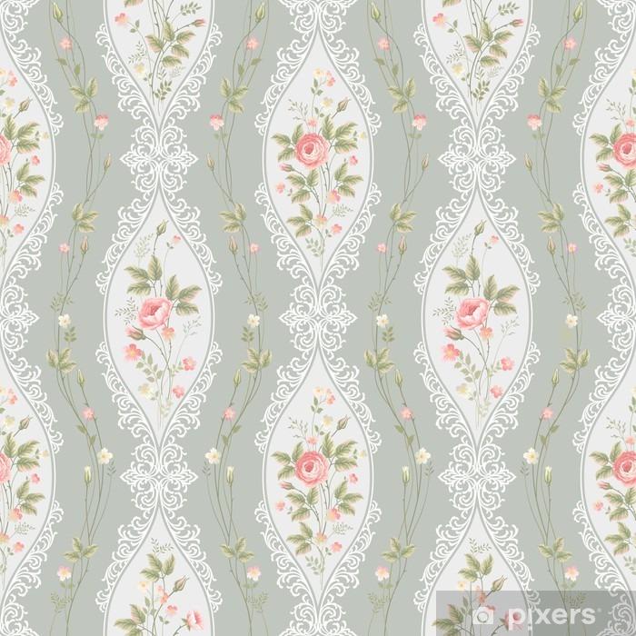 Pixerstick Sticker Naadloze bloemmotief met kant en nam grenzen - Bloemen en Planten
