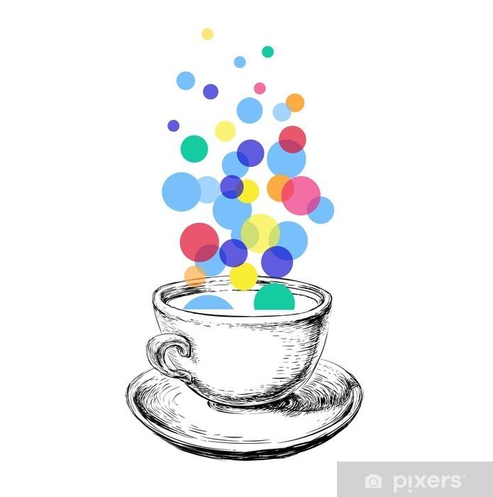 Fototapete Kunst Skizze Kaffeetasse Blasen Hand Gezeichnet Pixers