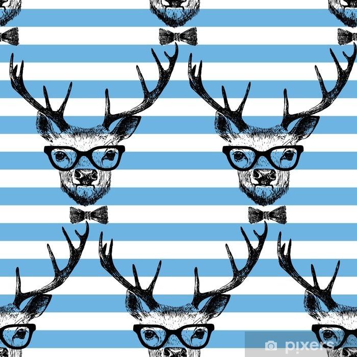 Naklejka Pixerstick Bez szwu z ręcznie rysowane przebrany jelenia - Zwierzęta
