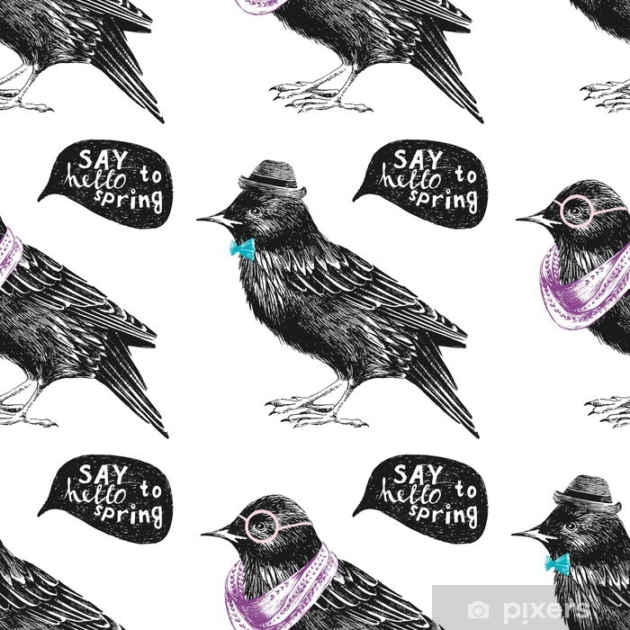 seamless pattern with dressed up starling Pixerstick Sticker - Animals