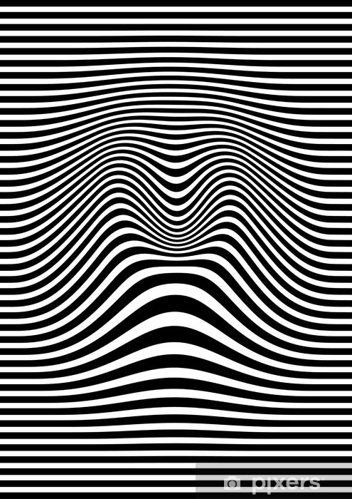 Naklejka Pixerstick Op-art streszczenie ilustracji geometryczny wzór czarno-biały wektor - Zasoby graficzne