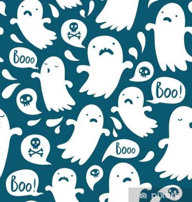 Sticker Pixerstick Modèle de Halloween sans couture avec divers fantômes effrayants - Ressources graphiques