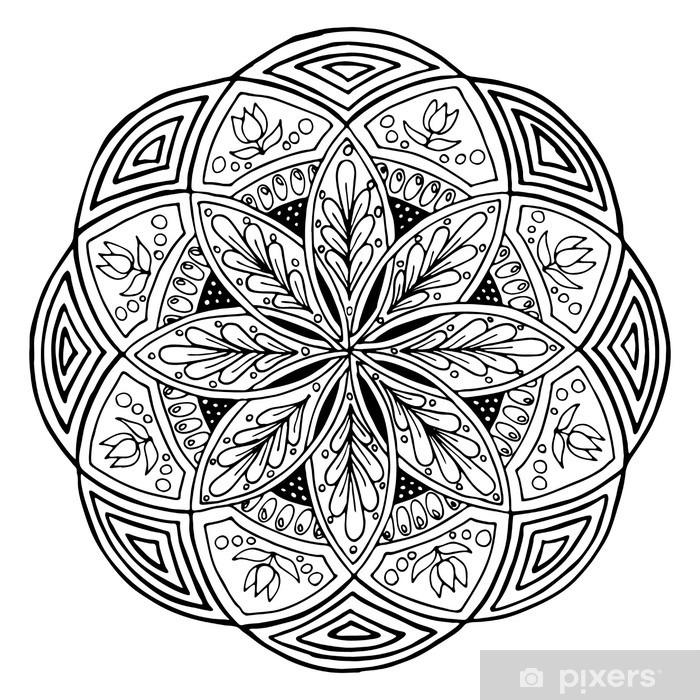 Mandala Yuvarlak çiçek Süsleme El çizimi Bez Için Boyama Kitabı