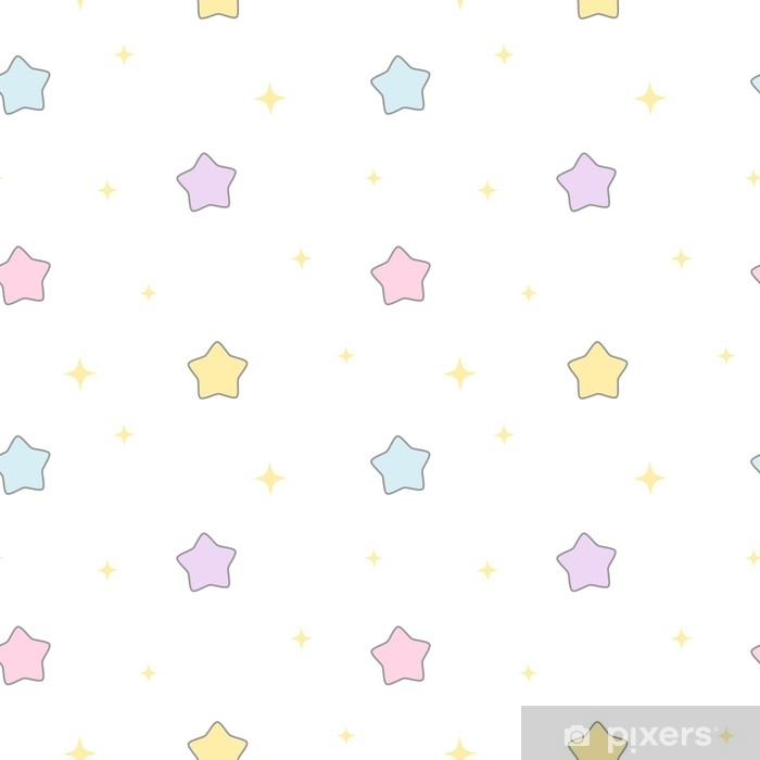 cute cartoon colorful stars seamless vector pattern background illustration Pixerstick Sticker - Graphic Resources