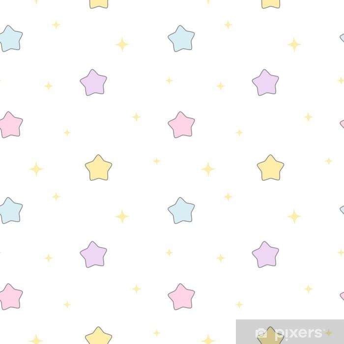 Pixerstick Sticker Leuke van het beeldverhaal naadloze vectorpatroon van beeldverhaal kleurrijke sterren illustratie als achtergrond - Grafische Bronnen