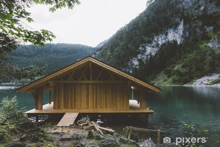 Wood house on lake with mountains and trees Pixerstick Sticker - Relaxation