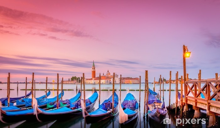 Gondolas in Venice at sunrise Vinyl Wall Mural - Travel