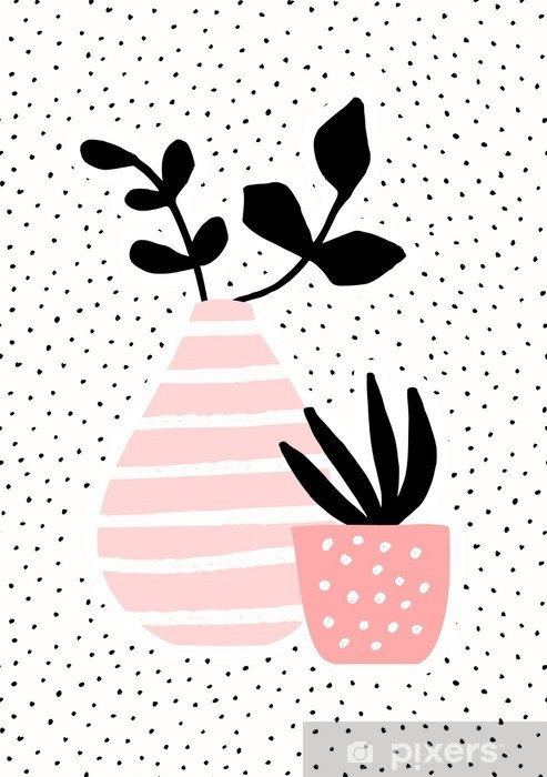 Fotomural Estándar Florero de color rosa y la olla con plantas - Plantas y flores