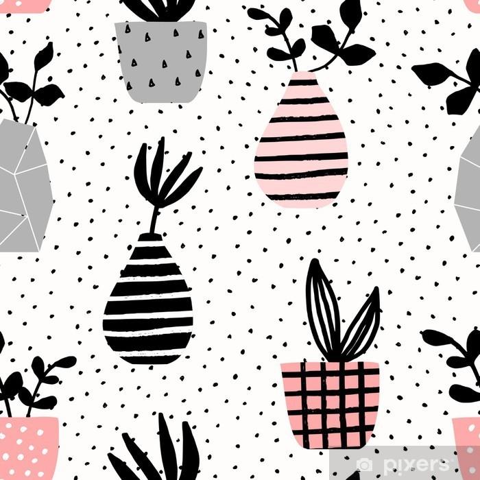 Naklejka Pixerstick Wazony i garnki Seamless Pattern - Do sypialni