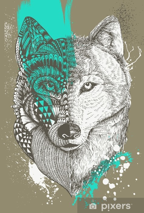 Zentangle stylized wolf with paint splatters, Hand drawn illustration Vinyl Wall Mural - Animals