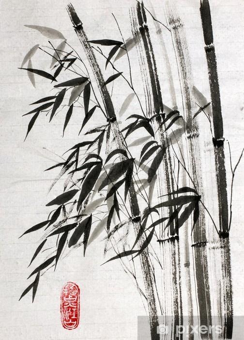 Carta da Parati in Vinile Bambù è un simbolo di longevità e prosperità - Piante & Fiori