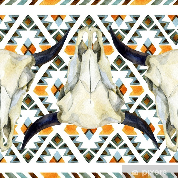 Geometrical ethnic seamless pattern with cow skull Poster - Animals