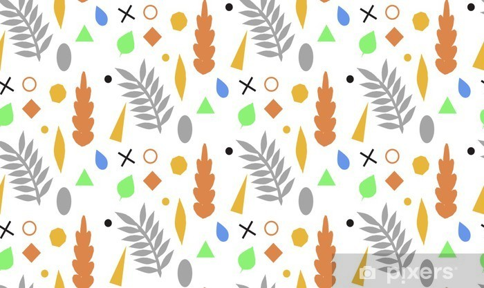 Autumn seamless pattern with leaves and geometric shapes. Vector background in orange and white colors. Can be used for wallpaper, pattern fills, surface textures, fabric prints. Vinyl Wall Mural - Autumn