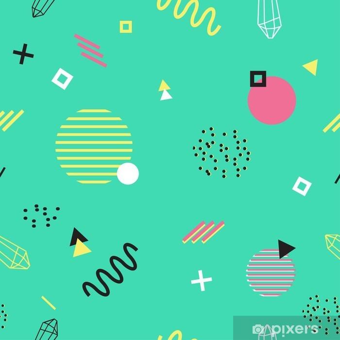 Koelkaststicker Kleurrijk naadloos patroon met eenvoudige geometrische elementen - Grafische Bronnen