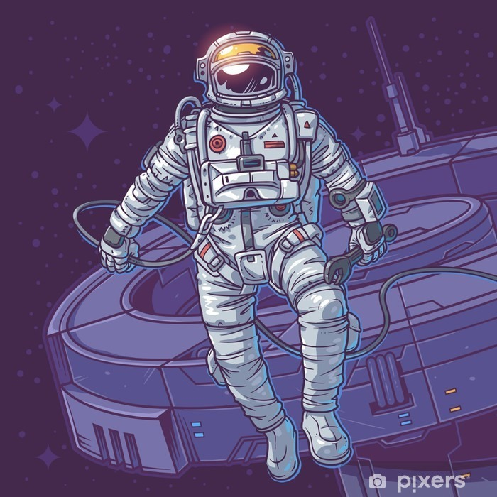 Sticker Pixerstick Vector illustration cosmonaute, - Ressources graphiques