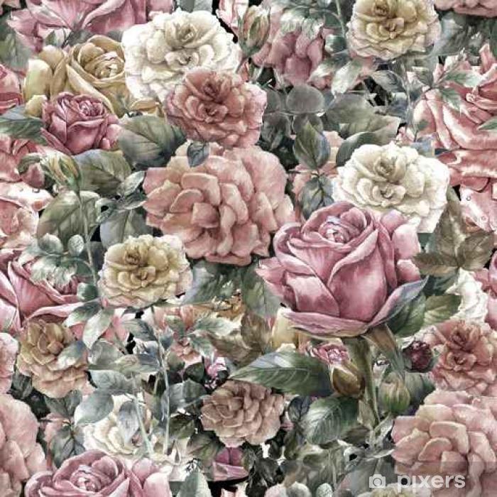 Pixerstick Sticker Aquarel schilderen van bloemen, roos, naadloos patroon - Grafische Bronnen