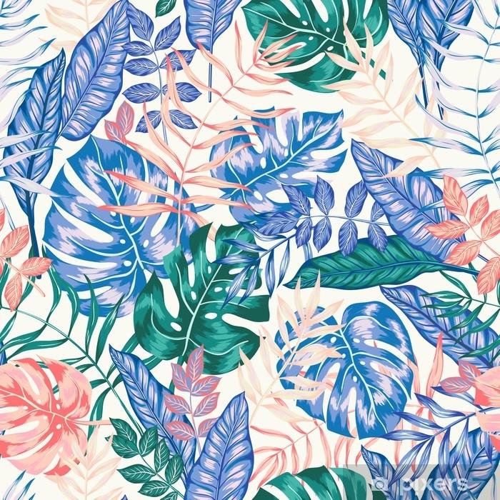 Vinyl Fotobehang Naadloze grafische artistieke tropische natuur jungle patroon, moderne stijlvolle gebladerte achtergrond allover print met split blad, philodendron, palmblad, fern varenblad - Grafische Bronnen