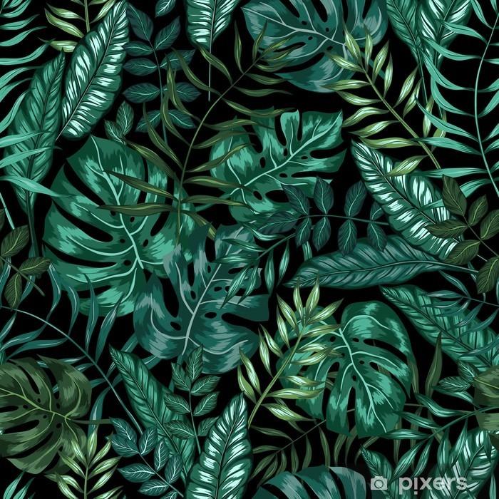 Fotomural Estándar Artística patrón de la naturaleza de la selva tropical gráfica transparente, moderno estilo de fondo follaje estampado integral con la hoja de división, filodendro, hoja de palma, fronda del helecho - Recursos gráficos