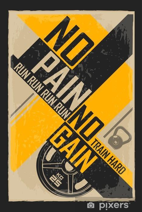 Pixerstick Sticker Fitness typografische grunge poster. Wie mooi wil zijn moet pijn lijden. Motiverende en inspirerende afbeelding. - Sport