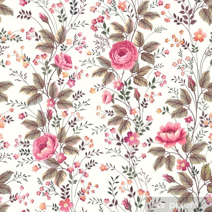 seamless floral rose pattern on white background Pixerstick Sticker - Plants and Flowers