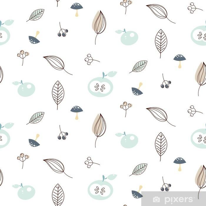 Vinyl Fotobehang Appels en bladeren naadloze vector natuur patroon. Witte en blauwe winter patroon achtergrond. - Herfst
