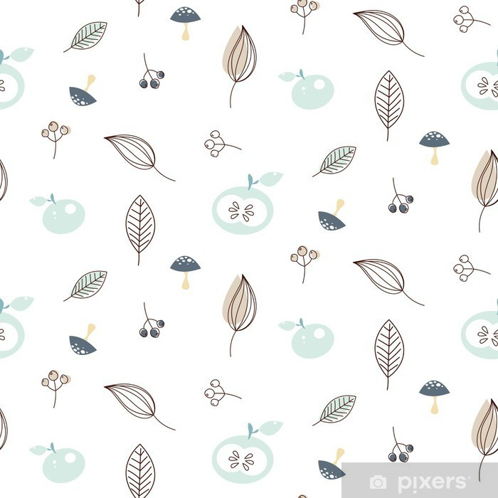 Apples and leaves seamless vector nature pattern. White and blue winter pattern background. Vinyl Wall Mural - Autumn