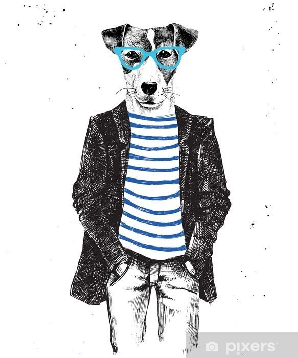 Håndtegnet klædt hund i hipster stil Garderobe klistermærke - Dyr