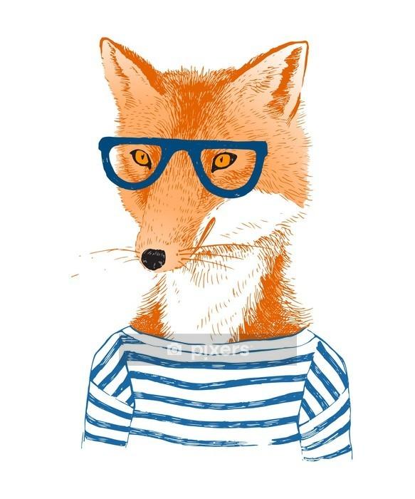 Muursticker Hand getrokken gekleed vos in hipster stijl - Dieren