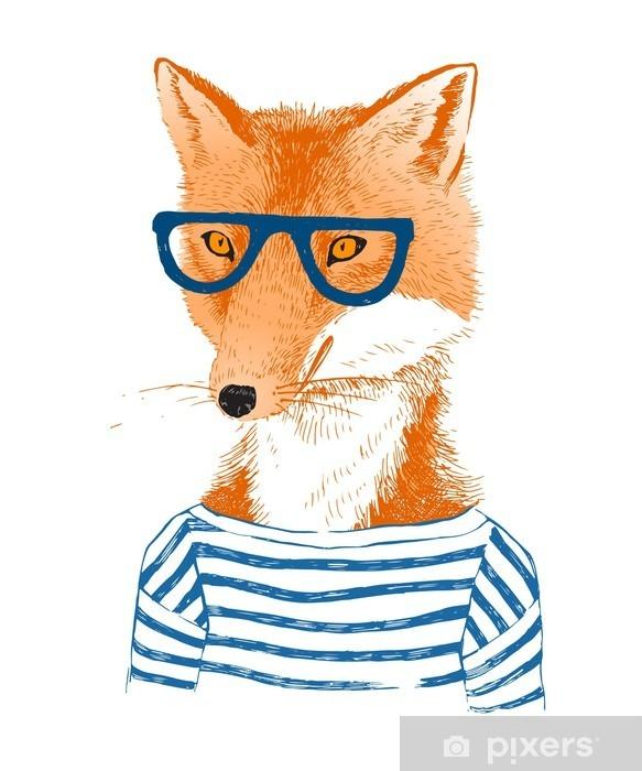 Hand drawn dressed up fox in hipster style Pixerstick Sticker - Animals